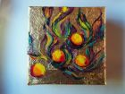 "Physalis fruits<br />5"" square painting on canvas , acrylic and  dutch gold leaf<br />£30 SOLD"
