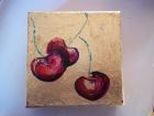 "Three cherries<br />5"" square painting on canvas, acrylic and dutch gold leaf<br />£30"