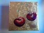 "Pair  of cherries<br />5"" square painting on canvas, acrylic and dutch gold leaf<br />£30  SOLD"