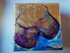 "Pears 1<br />6"" square canvas, acrylic and dutch gold leaf<br />£30"
