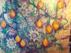 Wild Passion Fruit Plant<br />Acrylic and dutch gold<br /><br />standard canvas  100cm x80 cm  unframed<br />&pound;500
