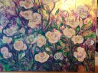 Roses<br />Acrylic and dutch gold on standard canvas<br />100cm x 80cm<br />&pound;500   Sold