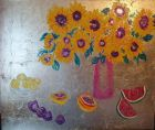 Sunflowers in Pink Vase<br /><br />Acrylic and imitation Gold leaf on canvas 60&quot;x 48&quot;<br />&pound;850