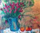 Pink tulips and fruit<br /><br />Acrylic and imitation gold an wood panel