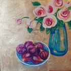 White/pink  peonies and figs<br />acrylic and dutch gold on wood panel<br />44cm x 66cm total in deep  mahogany effect fframe with white slip.<br />&pound;325