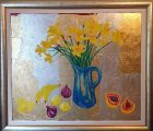 Daffodils and fruit<br />38&quot;x 44&quot; inches in substantial silver and gold effect wood frame with white slip.<br /><br />&pound;850