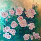White/pink rose<br />Acrylic and dutch gold on wood panel<br />37&quot; square including deep mahogany effect frame with white slip.<br />&pound;450
