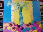 Lilies and fruit<br />acrylic and 23ctgold leaf on canvas<br />1metre square<br />Donated to One in twenty five auction to raise funds on november 28th 2014