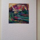 Delphiniums<br />A5 card, acrylic and dutch gold <br />&pound;10