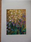 Delphiniums<br />A5 card, painting in aperture is acrylic and dutch gold<br />&pound;10