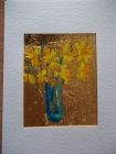 Daffodils in turquoise vase<br />A5 card , painting is acrylic and dutch gold<br />&pound;10