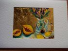Still life with flowers and fruit<br />A5 card, painting is acrylic and dutch gold<br />&pound;10     <br />         SOLD