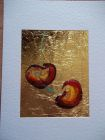 Pair of cherries<br />A5 card, painting is acrylic and dutch gold<br />&pound;10