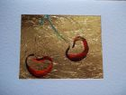 Pair of cherries ( landscape dimension<br />A5 card, painting is acrylic and dutch gold<br />&pound;10