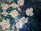 Roses<br /><br />acrlyic and dutch gold on deep edge canvas<br />100 cm x 70 cm<br />595 pounds<br />SOLD