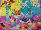 daffodils and red tulipswith fruit<br />acryilc on canvas<br />1.2 m x 1 m